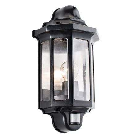 Traditional PIR Half Lantern IP44 60W Wall - Satin Black Paint