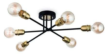 Trident 6 Light Flush Fitting in Black & Brushed Brass Finish