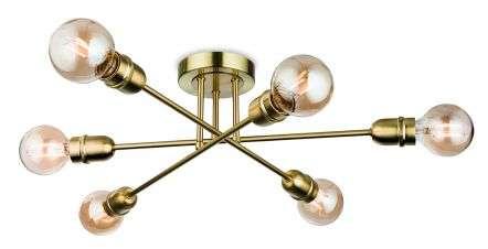 Trident 6 Light Flush Fitting in Brushed Brass Finish