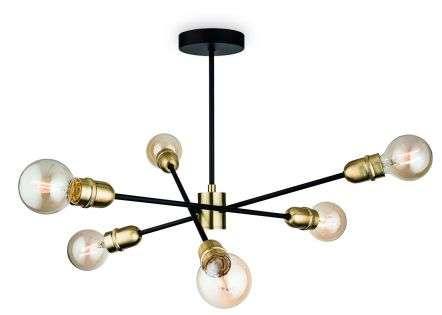 Trident 6 Light Semi-Flush Fitting in Black & Brushed Brass Finish