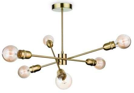 Trident 6 Light Semi-Flush Fitting in Brushed Brass Finish