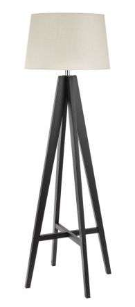 Tripod Floor Lamp Dark Wood  Cream Linen Shade