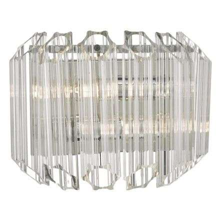 Tuvalu 2lt Wall Light Glass & Polished Chrome
