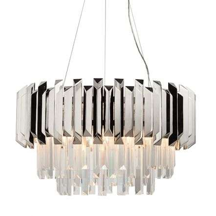 Valetta 6 Light Pendant in Polished Nickel Finish