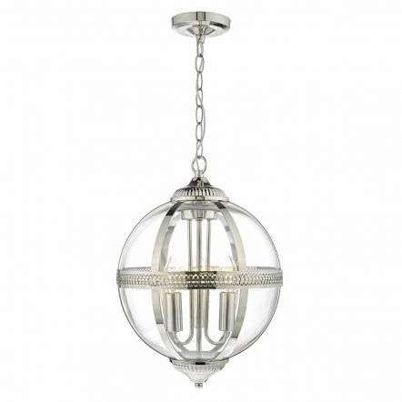 Vanessa 3lt Pendant Polished Nickel & Glass