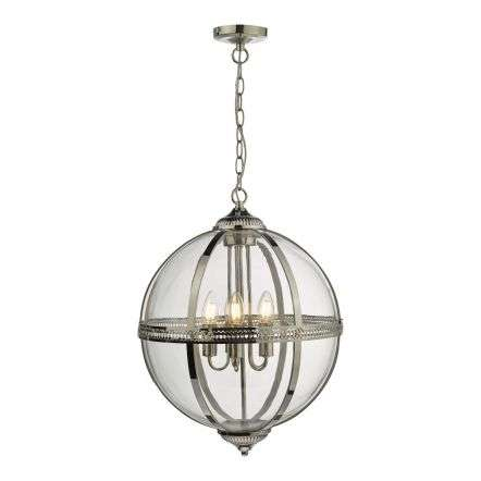 Vanessa 5lt Pendant Poished Nickel & Clear