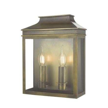 Vapour 2 Light Lantern in Weathered Brass Finish IP44