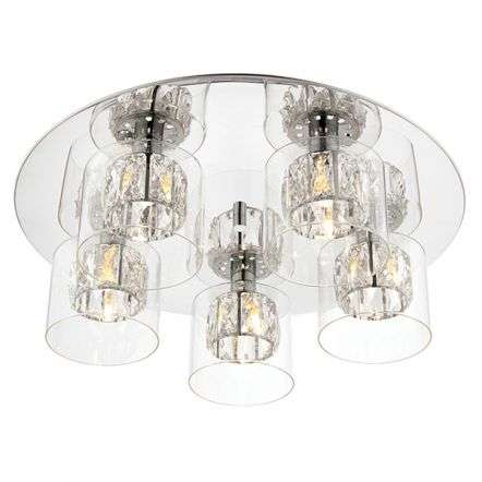 Verina 5 Light Flush Fitting in Chrome with Clear Glass