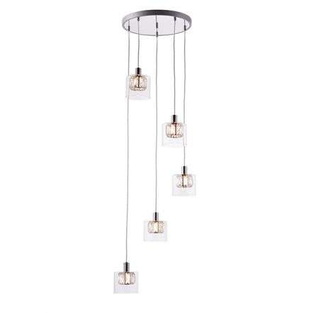 Verina 5 Light Pendant in Chrome with Clear Glass