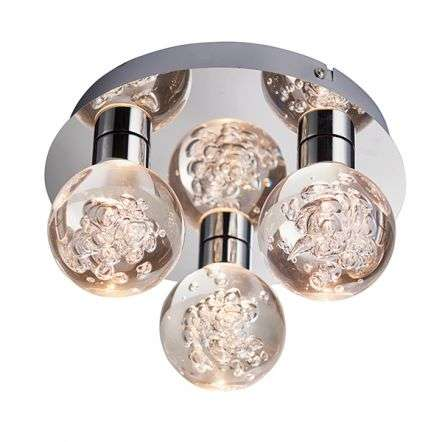 Versa Chrome 3 Light Flush Fitting in Warm White IP44