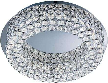 Vesta Chrome 54 Led Ceiling Flush Light With Crystal Buttons