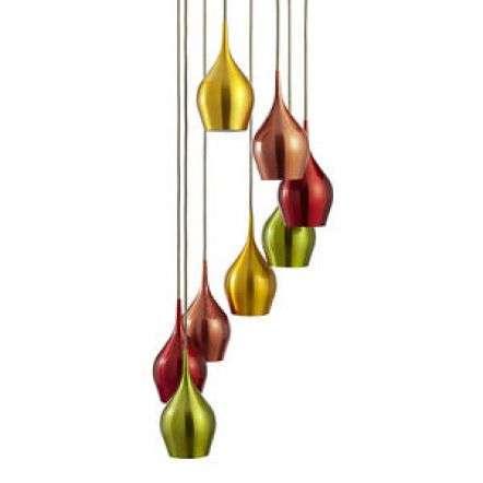 Vibrant 8 Light Multi-Drop Pendant with Multi Coloured Shades