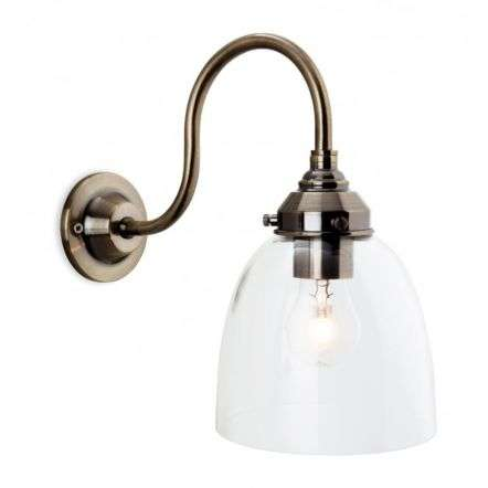 Victoria Wall Light In Antique Brass With Clear Glass