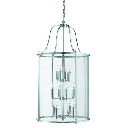 Victorian Lantern, 12 Light Chrome, Clear Glass Panels