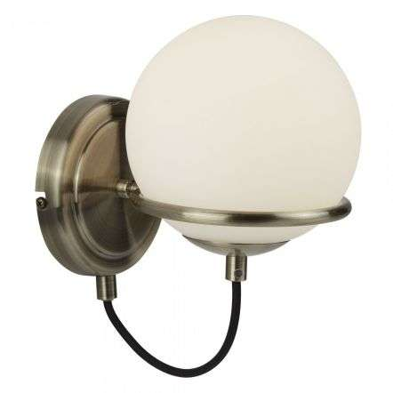 Wall Light in Antique Brass with Black Braided Cable