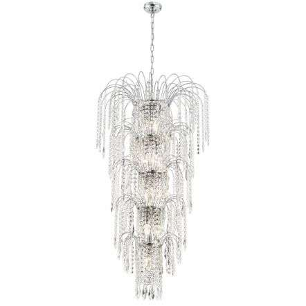 Waterfall Chrome 13 Light Chandelier With Crystal Buttons & Drops | Online Lighting Shop