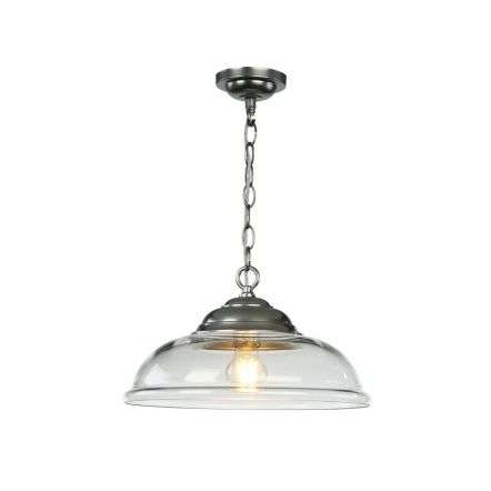 WEBSTER 1 light pendant clear glass with chrome