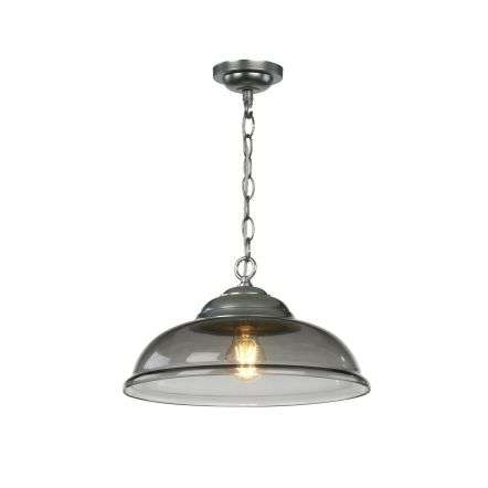 WEBSTER 1 light pendant smoked glass with chrome