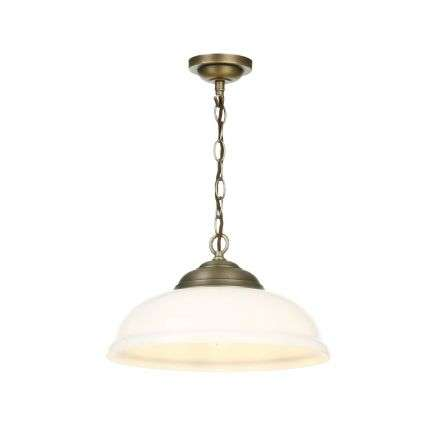 WEBSTER 1 light pendant white glass with antique brass