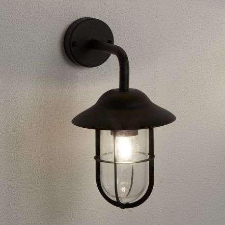 Well Glass Ip44 Matt Black Outdoor Wall Lantern