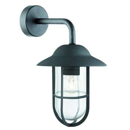 Well Glass Ip44 Matt Black Outdoor Wall Lantern