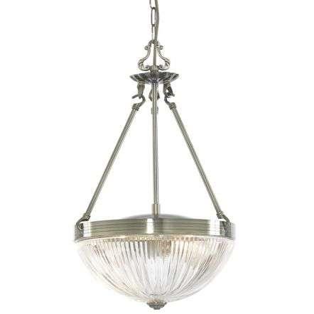 Windsor Ii 2 Light Antique Brass Pendant Ribbed Glass