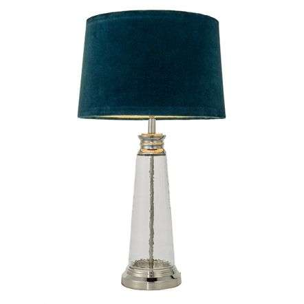 Winslet Hammered Glass Table Lamp C/W Teal Shade