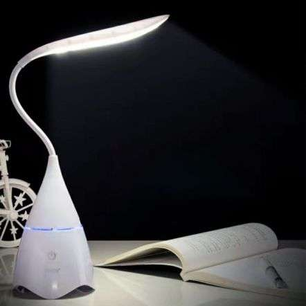 Wireless LED Table Lamp With Bluetooth Speaker White