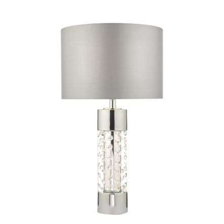 Yalena Table Lamp Large Polished Chrome & Crystal w/ Shade