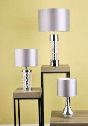 Yalena Table Lamp Small Polished Chrome & Crystal w/ Shade