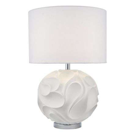 Zachary Table Lamp White Round Cw Shd