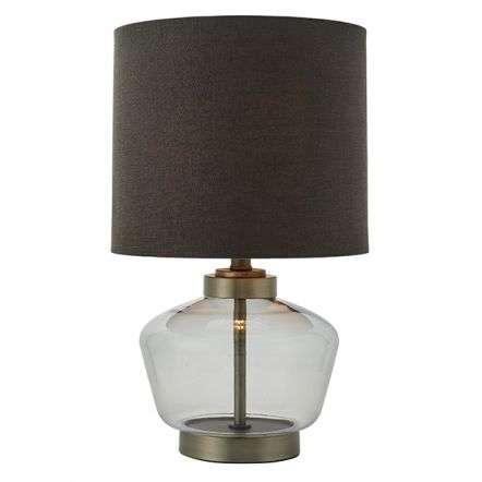 Zen Smokey Grey Glass Table Lamp C/W Shade