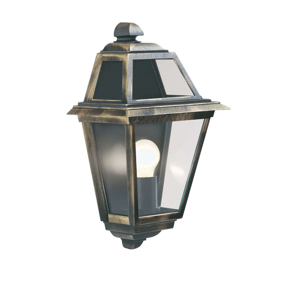 New Orleans Ip44 Black & Gold Wall Uplighter With Clear Glass jrlighting.co.uk