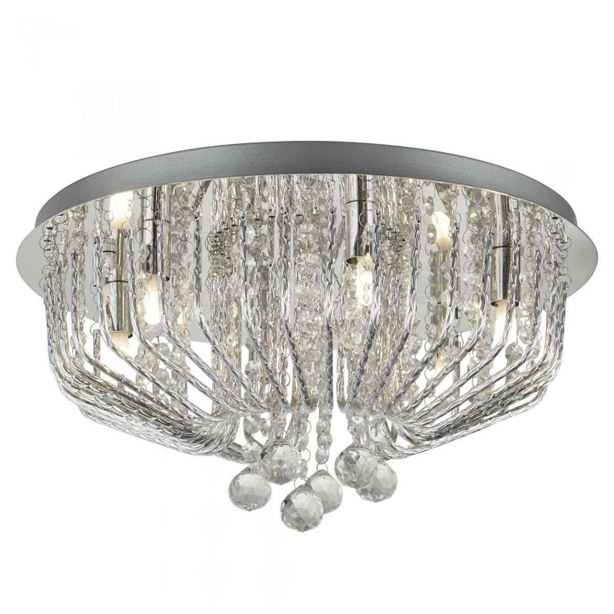 Searchlight 7786-6CC Mela 6 Light Ceiling Flush With Crystal Ball Drops