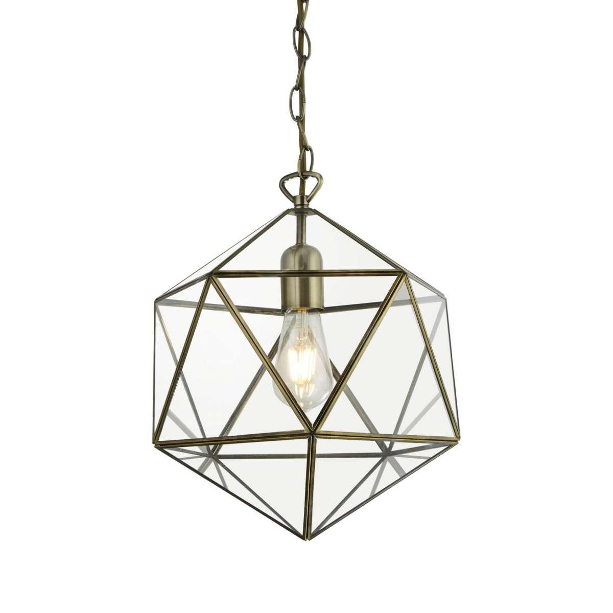 Searchlight 8962AB Terrarium Prisim Shaped Single Pendant Antique Brass