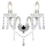 Katie 2-light polished chrome crystal wall fitting